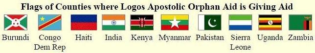 Flags of 10 countries where Logos Apostolic orphan Aid helps