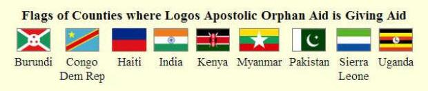 Flags of 9 countries where Logos Apostolic orphan Aid helps